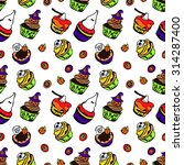 halloween cakes. scary cupcakes.... | Shutterstock .eps vector #314287400
