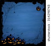 Blue Halloween Background With...