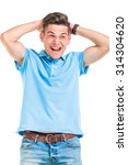 happy casual man laughing away... | Shutterstock . vector #314304620