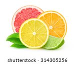Isolated Citrus Fruits. Slices...