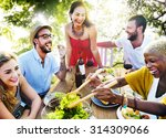 friends outdoors vacation... | Shutterstock . vector #314309066