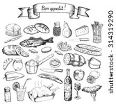 bon appetit. hand drawn set of... | Shutterstock . vector #314319290