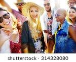 teenagers friends beach party... | Shutterstock . vector #314328080