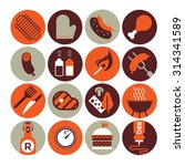 set of sixteen icons with bbq... | Shutterstock .eps vector #314341589