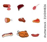 vector pixel meat products | Shutterstock .eps vector #314344826