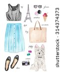 summer outfit. hand drawn... | Shutterstock . vector #314374373