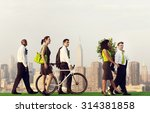 green business commuters in the ... | Shutterstock . vector #314381858