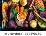 Roasted Vegetables  Closeup View