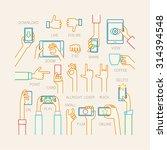hands set   line style. vector... | Shutterstock .eps vector #314394548