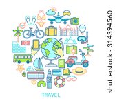 travel set  line icons. vector... | Shutterstock .eps vector #314394560
