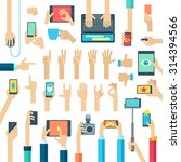 hands set with gadgets. vector... | Shutterstock .eps vector #314394566
