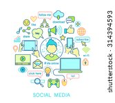 social media set  line icons....   Shutterstock .eps vector #314394593