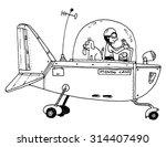 funny flying machine plane... | Shutterstock .eps vector #314407490