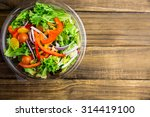Healthy Bowl Of Salad On Table...