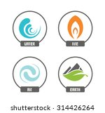 set of 4 vector elements   fire ...