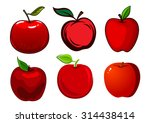 Fresh And Ripe Red Apple Fruit...