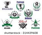 billiard game or poolroom icons ...