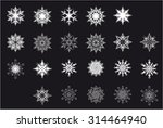 set of white snowflakes on a... | Shutterstock .eps vector #314464940