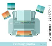 flat photo printer with photos... | Shutterstock .eps vector #314477444