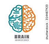 left   right human brain... | Shutterstock .eps vector #314487920