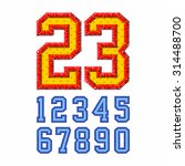 Embroidered Font Numbers Vecto...