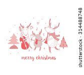 cute merry christmas card with... | Shutterstock .eps vector #314488748