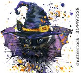 Halloween Cat And A Witch Hat....