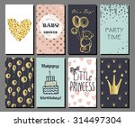 Set Of Hand Drawn Cute Cards...