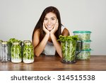 a woman doing meal prep for the ... | Shutterstock . vector #314515538