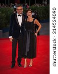 Small photo of Venice, Italy - 07 September 2015: Laurent Vinay and Maribel Verdu attend a premiere for 'Rabin, The Last Day' during the 72nd Venice Film Festival