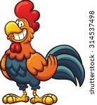 Happy Cartoon Rooster. Vector...