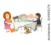portrait of big family sitting... | Shutterstock .eps vector #314543174