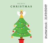 christmas tree with angel on top | Shutterstock .eps vector #314545049