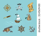 adventures and pirate life | Shutterstock .eps vector #314569430