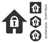 locked house icon set ...