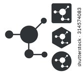 molecule icon set  monochrome ...