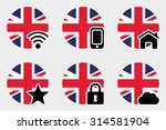 a web icon set with the flag of ...