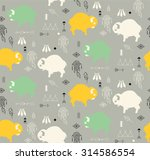 seamless pattern with cute baby ... | Shutterstock .eps vector #314586554