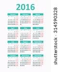 calendar 2016 starting from...   Shutterstock .eps vector #314590328