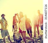 diverse beach summer friends... | Shutterstock . vector #314607116