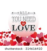 love card design with hearts... | Shutterstock .eps vector #314616410