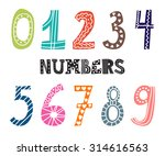 Numbers Set. Collection Of Cut...