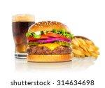 hamburger fries and a coke soda ... | Shutterstock . vector #314634698