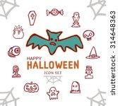 happy halloween day icon set... | Shutterstock .eps vector #314648363