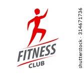 red vector logo man running for ... | Shutterstock .eps vector #314671736