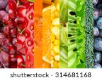 collage with fruits and... | Shutterstock . vector #314681168