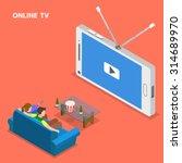 Online Tv Isometric Flat Vecto...