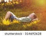 child lies on green grass in...   Shutterstock . vector #314692628