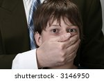 boy with face covered, concept of abuse and violence - stock photo