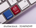 mortgage loan button on white... | Shutterstock . vector #314696549